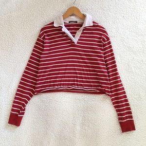 Brandy Melville red white stripe Jonny polo top